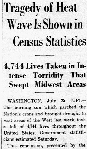 An article about the death toll of the heat wave of 1936, Dallas Morning News newspaper article 26 July 1936