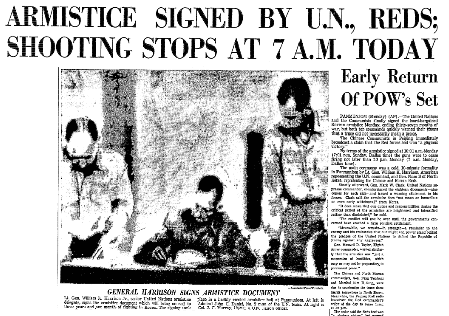 An article about the signing of the armistice that ended the Korean War, Dallas Morning News newspaper article , 27 July 1953