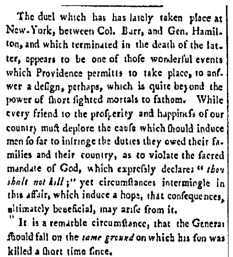 An article about the Hamilton-Burr duel, Democrat newspaper article 18 July 1804