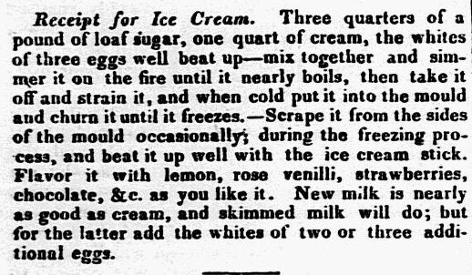 An ice cream recipe, Eastern Argus newspaper article 5 June 1829