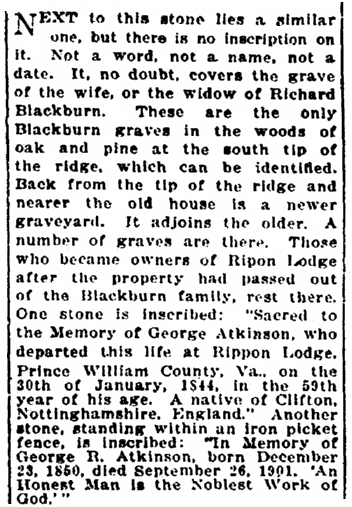 An article about some of the tombstones found on the property at Rippon Lodge, Evening Star newspaper article 24 April 1921