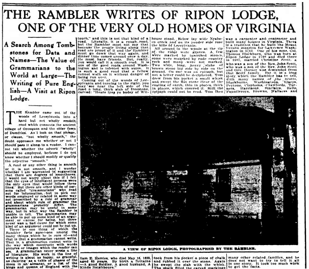 An article about Rippon Lodge, Evening Star newspaper article 24 April 1921