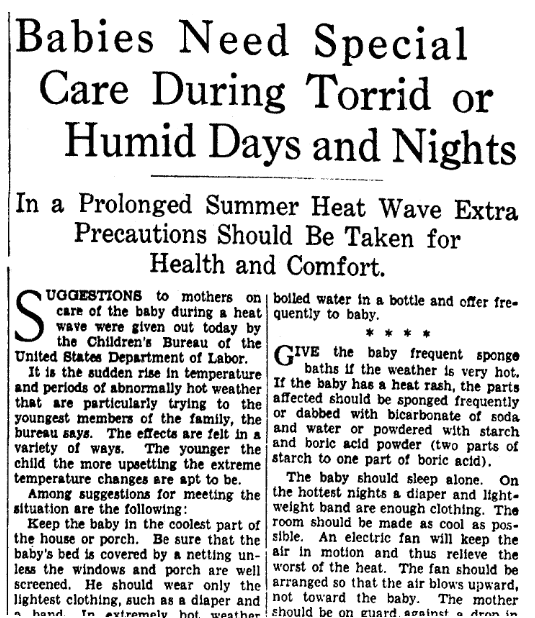 An article about how to take care of babies during a heat wave, Evening Star newspaper article 27 July 1936