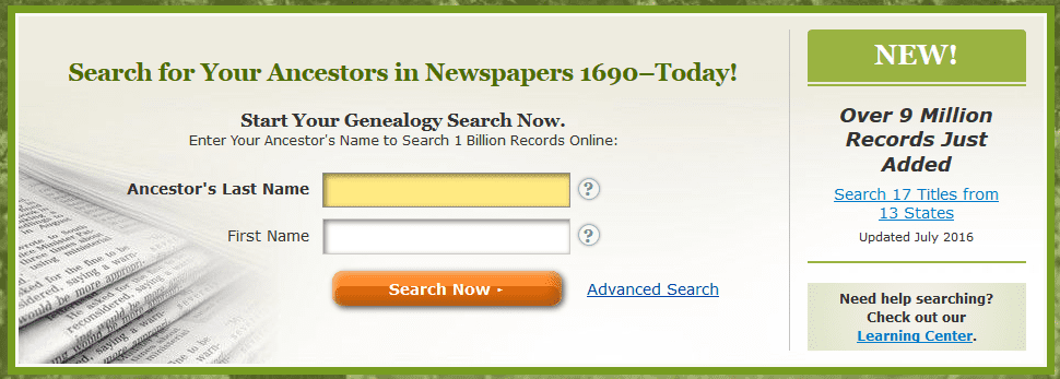 A screenshot of GenealogyBank's home page showing the new content announcement for July