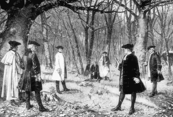Painting: an imaginative depiction of the duel between Alexander Hamilton and Aaron Burr, by J. Mund. Source: Wikimedia Commons.