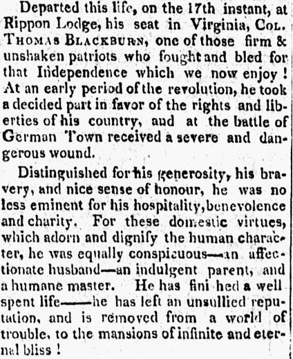 Obituary for Thomas Blackburn, People's Friend newspaper article 27 July 1807