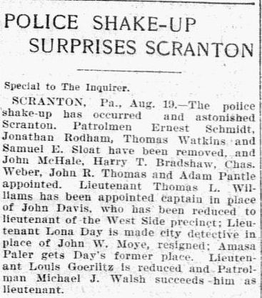 An article about the police in Scranton, Pennsylvania, Philadelphia Inquirer newspaper article 20 August 1901