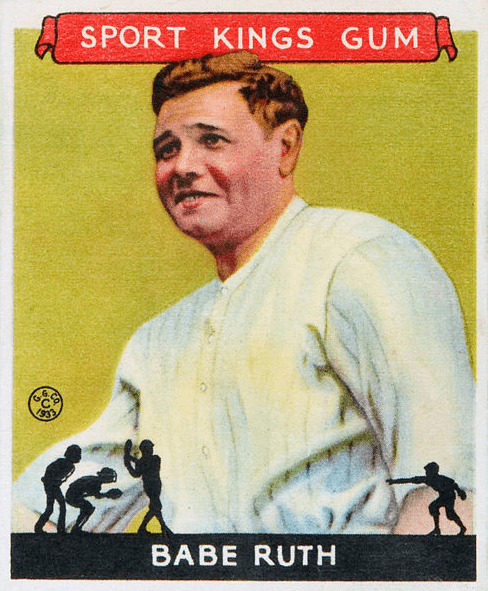 "Photo: 1933 Babe Ruth ""Sport Kings"" baseball card produced by the Goudey Gum Company"