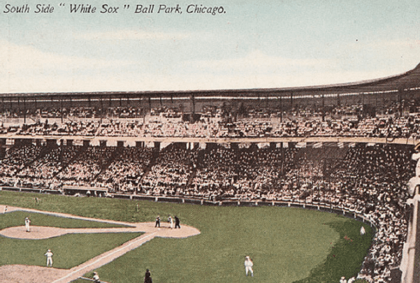 Photo: 1913 postcard of Comiskey Park, home of the Chicago White Sox baseball team, produced by the Franklin Post Card Co. Credit: University of Maryland Digital Collections, National Trust Library Historic Postcard Collection; Wikimedia Commons.