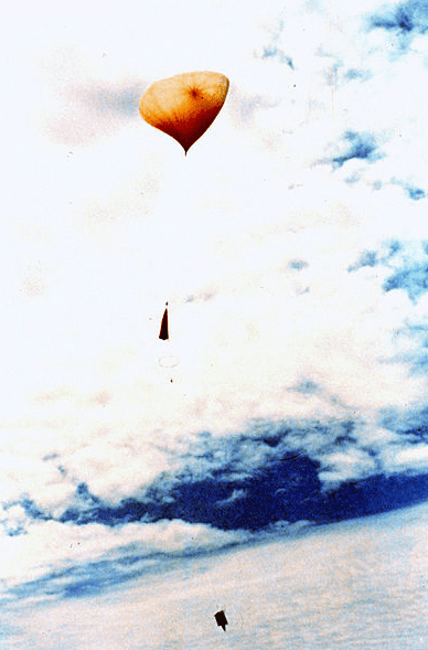 Photo: National Oceanic and Atmospheric Administration (NOAA) weather balloon after launching