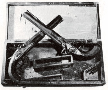 Photo: the Wogdon pistols used in the Hamilton-Burr duel