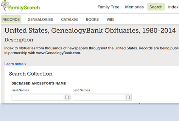 A screenshot of the FamilySearch website showing the search page for GenealogyBank's recent obituaries collection