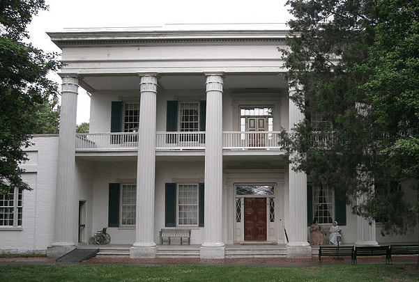 "Photo: Andrew and Rachel Jackson's home, ""The Hermitage,"" near Nashville, Tennessee. Credit: Jim Bowen; Wikimedia Commons."
