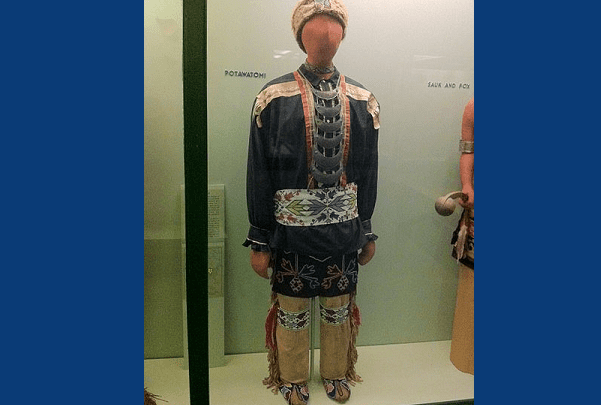 Photo: Pottawatomi outfit at the Field Museum in Chicago. Credit: Victorgrigas; Wikimedia Commons.