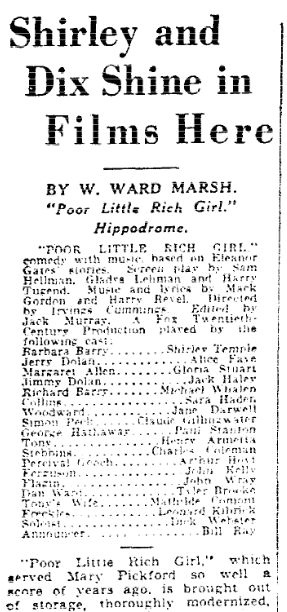 "A review of the Shirley Temple movie ""Poor Little Rich Girl,"" Plain Dealer newspaper article 20 July 1936"