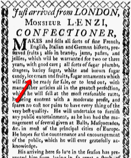 An ad for Lenzi's sweets shop, Rivington's New York Gazetteer newspaper advertisement 25 November 1773