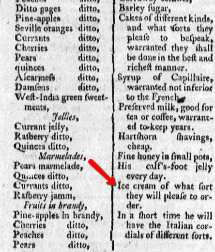 An ad for Lenzi's sweets shop, Rivington's New-York Loyal Gazette newspaper advertisement 8 November 1777