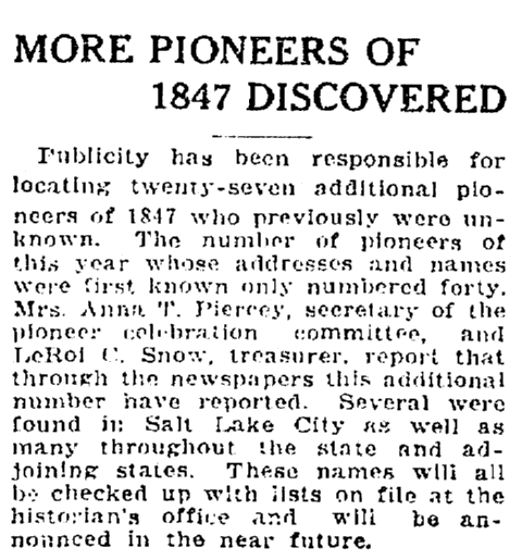 An article about the Pioneers of 1847, Salt Lake Telegram newspaper article 5 July 1922