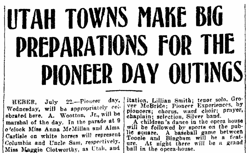 An article about Pioneer Day, Salt Lake Telegram newspaper article 22 July 1907