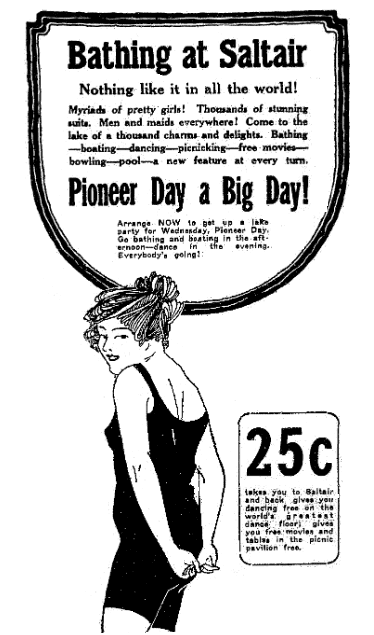 An ad for the Saltair resort, Salt Lake Telegram newspaper advertisement 22 July 1918