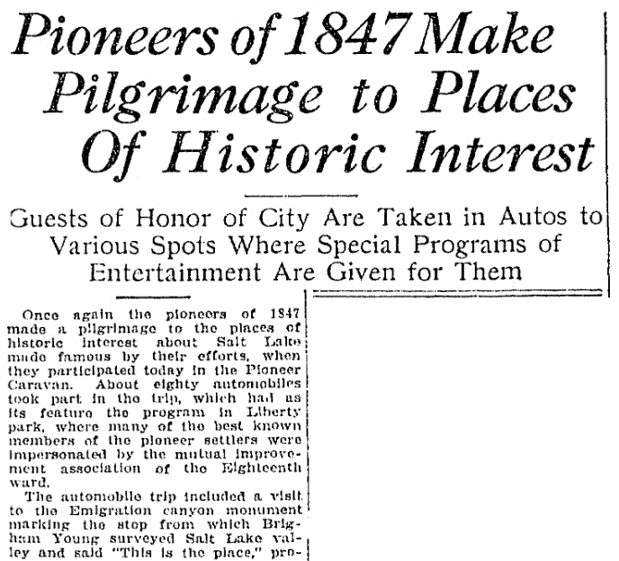 An article about the Pioneers of 1847, Salt Lake Telegram newspaper article 24 July 1922