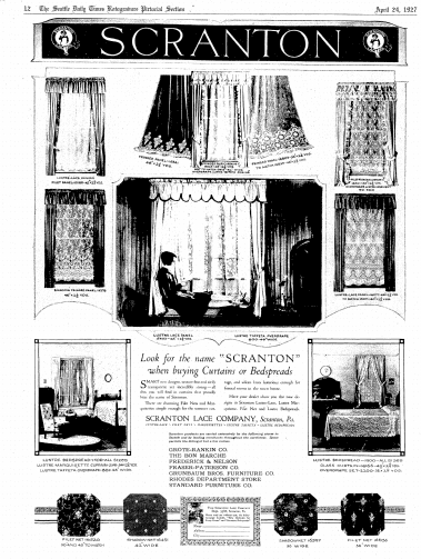 An ad from the Scranton Lace Company, Seattle Daily Times newspaper advertisement 24 April 1927
