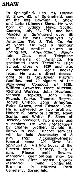 An obituary for Harold B. Shaw, Springfield Union newspaper article 25 February 1975