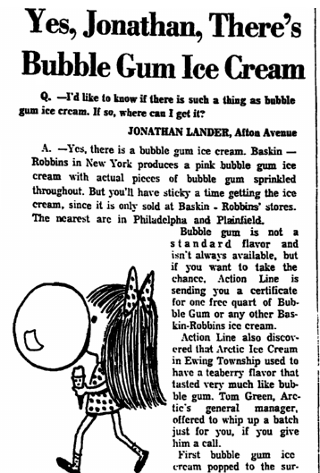 An article about bubble gum ice cream, Trenton Evening Times newspaper article 13 April 1970