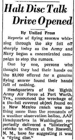 An article about the Roswell UFO incident, Trenton Evening Times newspaper article 9 July 1947