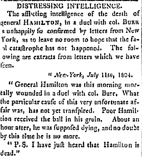 An article about the Hamilton-Burr duel, United States' Gazette newspaper article 12 July 1804