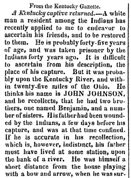 An article about John Johnson, Weekly Arkansas Gazette newspaper article 27 April 1824