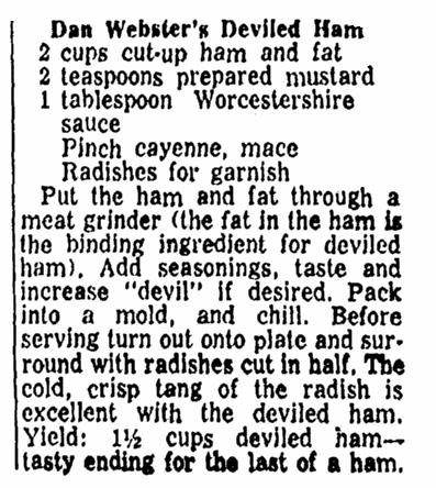 A recipe for deviled ham, Advocate newspaper article 22 January 1961