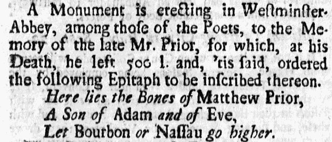 Matthew Prior's epitaph, American Weekly Mercury newspaper article 21 January 1724