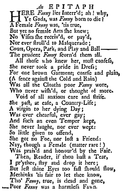 An epitaph for Fanny, American Weekly Mercury newspaper article 29 December 1737