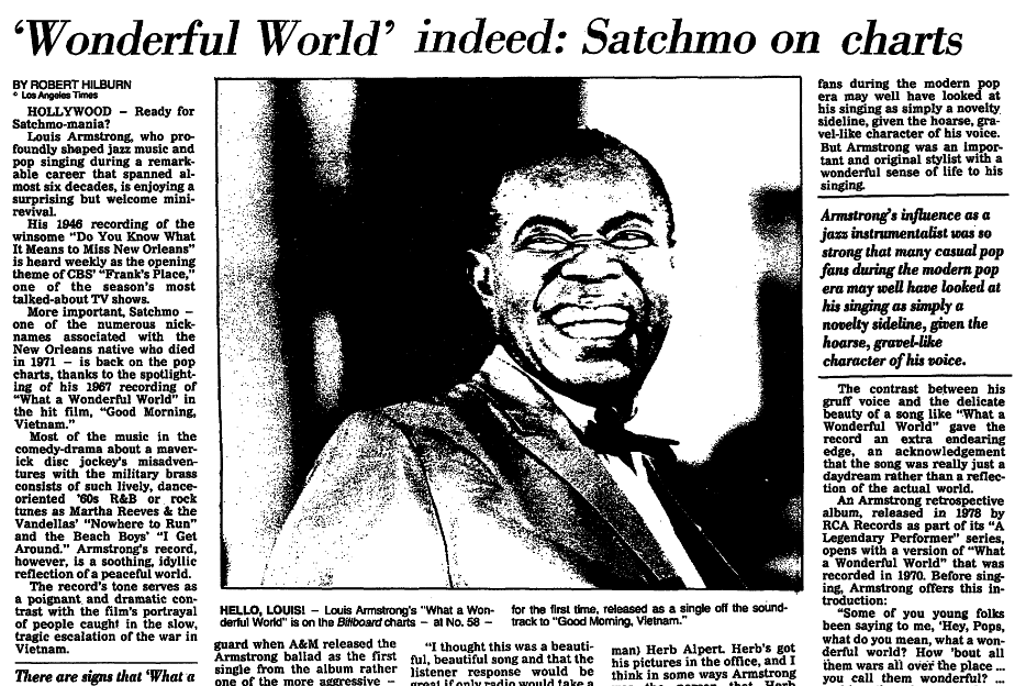 """An article about jazz trumpeter Louis """"Satchmo"""" Armstrong, Arkansas Democrat newspaper article 8 March 1988"""