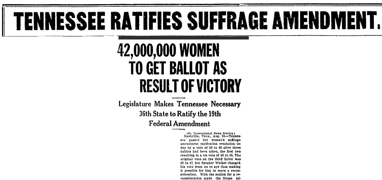 An article about passage of the 19th Amendment, Belleville News-Democrat newspaper article 18 August 1920