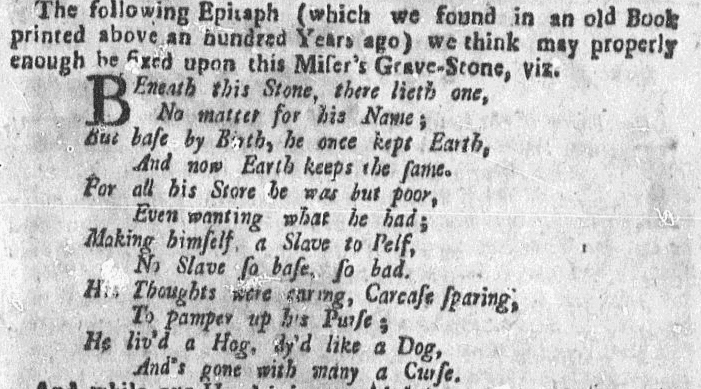 An epitaph for a miser, Boston Evening-Post newspaper article 29 November 1736