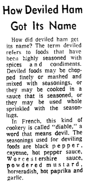 An article about deviled ham, Boston Herald newspaper article 9 October 1975