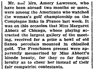 An article about golfer Margaret Abbott, Boston Herald newspaper article 14 October 1900