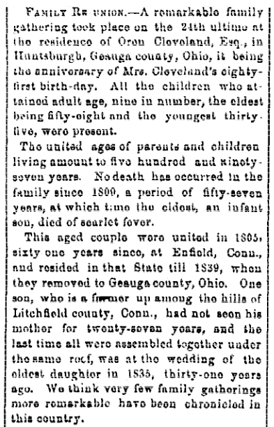 An article about a reunion of the Cleveland family, Cleveland Leader newspaper article 2 October 1866