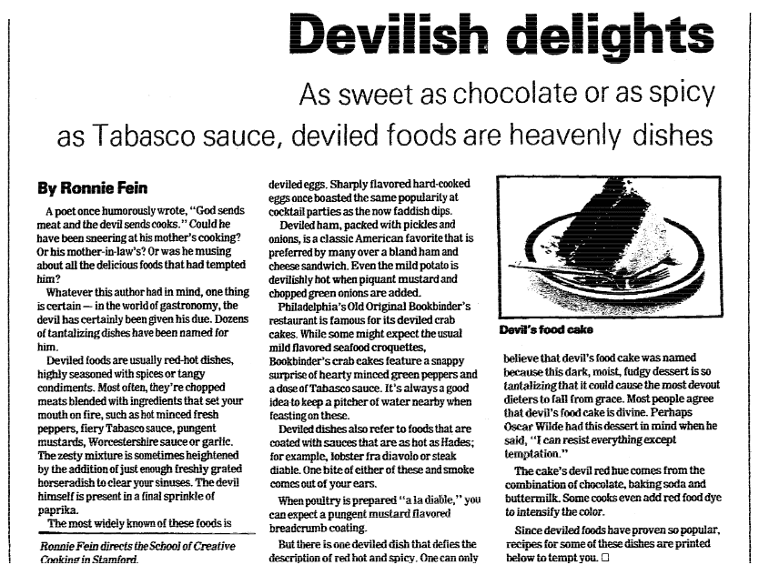 An article about deviled food, Daily Advocate newspaper article 11 November 1984