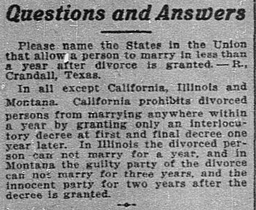 "A ""Questions and Answers"" column, Dallas Morning News newspaper article 6 March 1916"