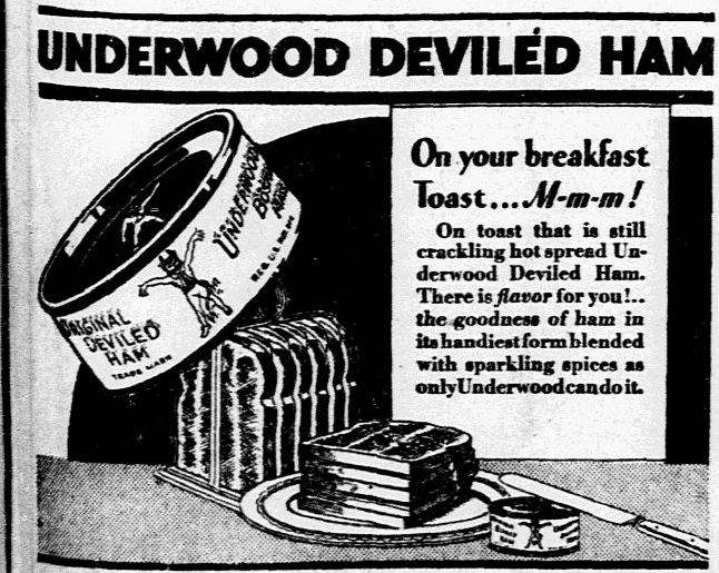 An ad for deviled ham, Dallas Morning News newspaper advertisement 18 April 1931