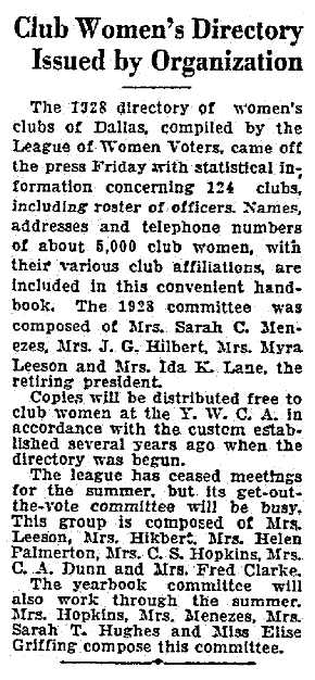 An article about women's club directories, Dallas Morning News newspaper article 16 June 1928
