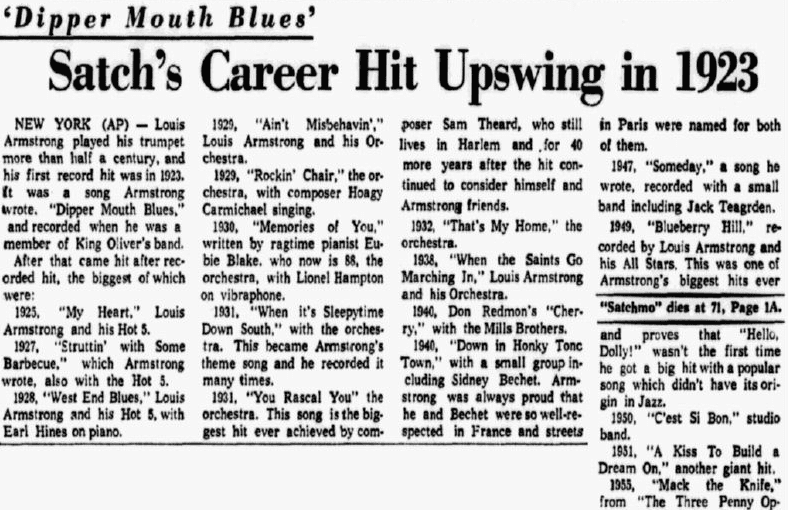 """An article about jazz trumpeter Louis """"Satchmo"""" Armstrong, Dallas Morning News newspaper article 7 July 1971"""