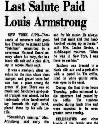 """An article about jazz trumpeter Louis """"Satchmo"""" Armstrong, Dallas Morning News newspaper article 9 July 1971"""