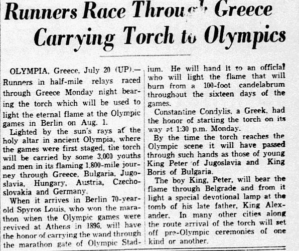 An article about the Olympic Games, newspaper article 21 July 1936