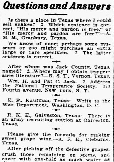 "A ""Questions and Answers"" column, Dallas Morning News newspaper article 24 July 1916"