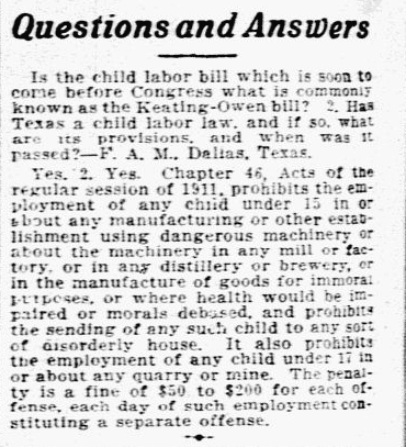 "A ""Questions and Answers"" column, Dallas Morning News newspaper article 2 August 1916"
