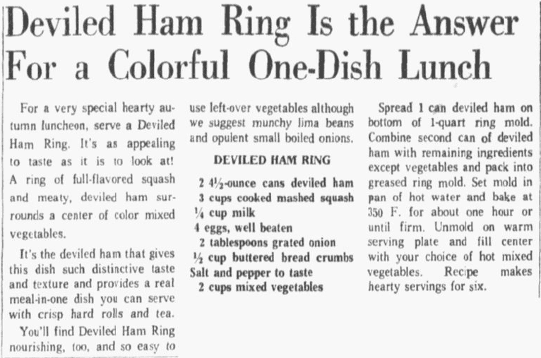 A recipe for a deviled ham dinner, Dallas Morning News newspaper article 17 October 1963